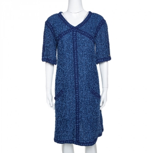 Chanel Blue Boucle Tweed Shift Dress L - used