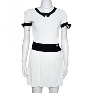 Chanel White Rib Knit Contrast Trim Detail Mini Dress S - used