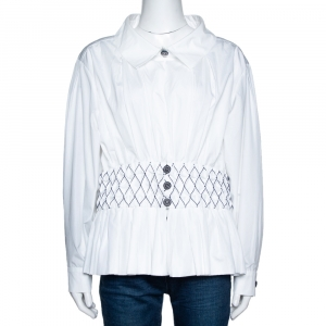 Chanel White Smocked Cotton Poplin Long Sleeve Blouse L