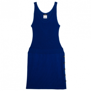 Chanel Cobalt Blue Knitted Dropwaist Dress