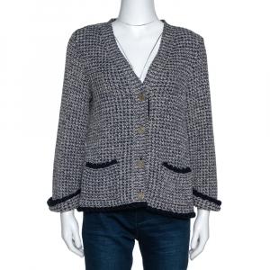 Chanel Navy Blue & Beige Cotton Blend Lurex Knit Cardigan L