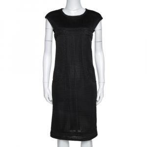 Chanel Black Nylon Mesh Fitted Sheath Dress L used