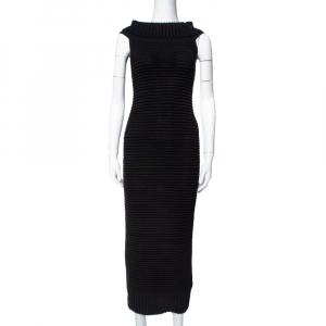 Chanel Black Rib Knit Turtle Neck Dress S - used
