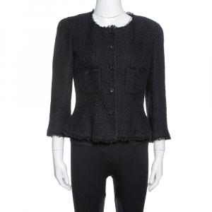 Chanel Black Silk & Cotton Fringed Button Front Jacket L