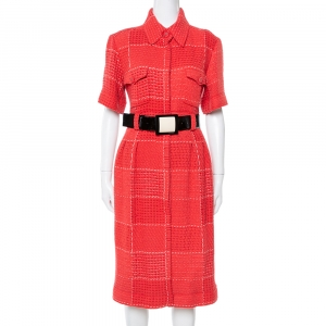 Chanel Red Tweed Belted Midi Dress L