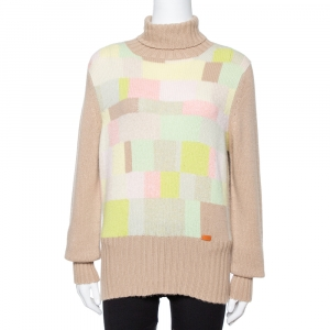 Chanel Vintage Beige Cashmere Turtleneck Sweater L