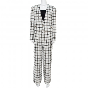 Chanel White Checked Tweed Wide Leg Trouser Suit M