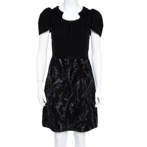 Chanel Black Wool Knit Coated Paint Detail A-Line Dress M - used