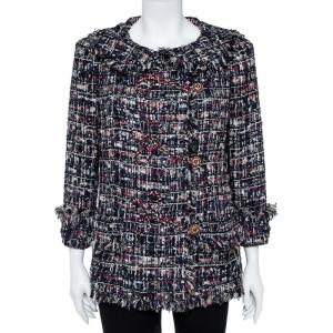 Chanel Navy Blue Tweed Embellished Closure Detail Jacket L