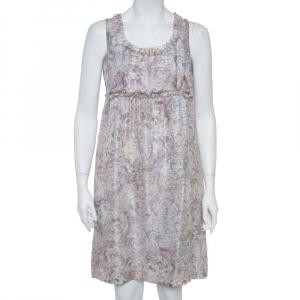 Chanel Pale Grey Floral Print Silk Sleeveless Dress L - used