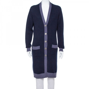 Chanel Navy Blue Cashmere  Long Button Front Cardigan M