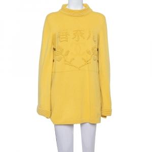 Chanel Paris Shanghai Collection Yellow Cashmere Logo Intarsia Knit Jumper L