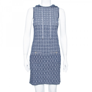 Chanel Navy Blue Lurex Knit Hoodie Detail Sleeveless Shift Dress S - used