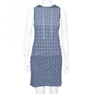 فستان شانيل بلا أكمام مزين هودي تريكو لوريكس أزرق كحلي مقاس صغير (سمول)