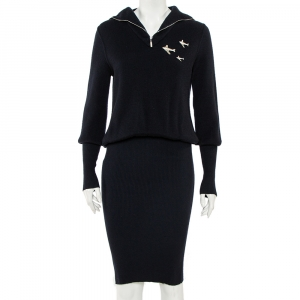 Chanel Navy Blue Cashmere Airplane Detail Fitted Dress S - used