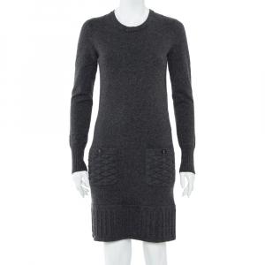 Chanel Dark Grey Cashmere Quilted Pocket & Hem Detail Shift Dress S - used