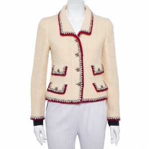 Chanel Cream Tweed Contrast Trim Detail Button Front Aztec Jacket M