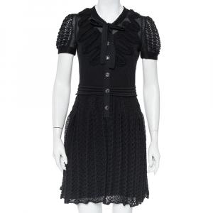 Chanel Black Knit Neck Tie Detail Button Front Mini Dress M - used