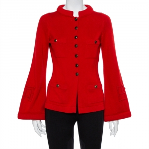 Chanel Red Cashmere & Wool Bell Sleeve Belted Sweater S - used