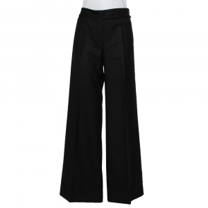 Chanel Black Wool Wide Leg Trousers M