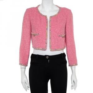 Chanel Pink Tweed Open Front Cropped Jacket M