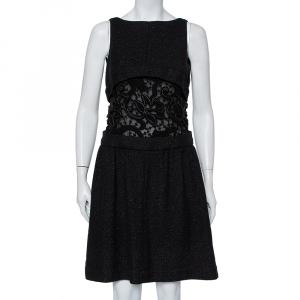 Chanel Black Wool & Lace Trim Sleeveless Mini Dress M - used