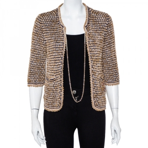 Chanel Multicolor Knit Chain Detail Open Front Cardigan M