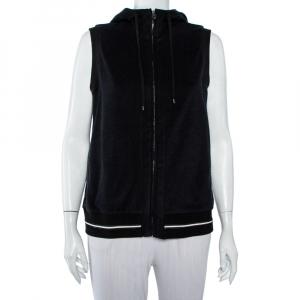 Chanel Black Velour Zip Front Sleeveless Hooded Sweatshirt L - used