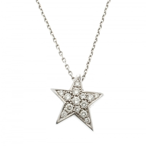 Chanel Comete 18k White Gold And Diamonds Star Necklace