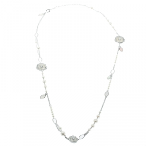 Chanel Pétales de Camélia Cultured Pearl Mother of Pearl & Diamond 18k White Gold Long Necklace