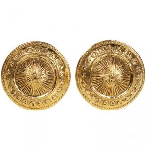 Chanel Vintage 1990 collection Gold Tone Domed Shield Clip-On Earrings
