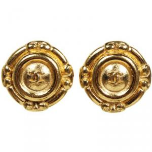 Chanel CC Vintage 1970 Gold Tone Clip-On Earrings