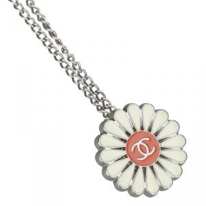 Chanel Floral CC Enamel Metallic Necklace