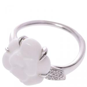 Chanel White Ceramic Camellia Ring Size 48
