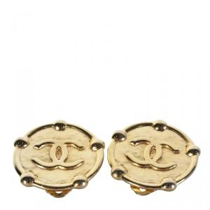 Chanel Gold Plated Metal Logo Clip-on Earrings