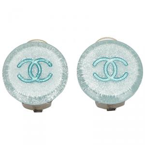 Chanel Blue/Light Blue CC Clip On Earrings