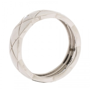 Chanel Coco Crush 18K White Gold Band Ring Size 55