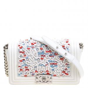 Chanel White Leather Medium Beads Embellished Boy Flap Bag
