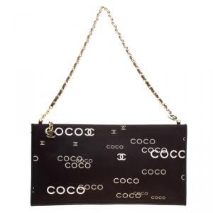 Chanel Black Fabric Coco Chain Pouch