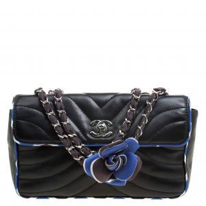 Chanel Black Chevron Silk Trim Leather Flap Bag