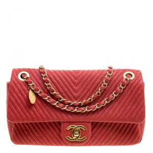 Chanel Red Chevron Leather Medium Flap Bag