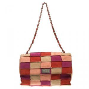 حقيبة كتف شانيل قلاب ريإشو صغيرة سويدي باتشوورك متعددة الألوان
