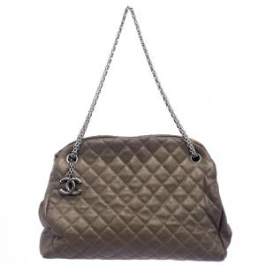 Chanel Dark Beige Quilted Caviar Leather Large Just Mademoiselle Bowling Bag