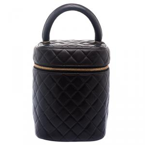 Chanel Dark Brown Quilted Leather Vanity Case