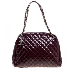 Chanel Burgundy Quilted Patent Leather Just Mademoiselle Bowling Bag