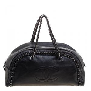 Chanel Black Leather Large Chain Trim Luxe Ligne Bowler Boston Bag