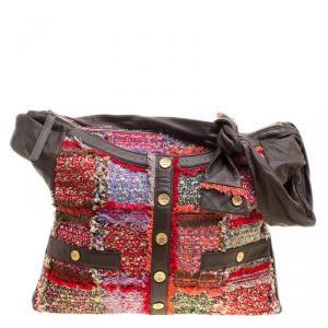 Chanel Khaki/Multicolor Tweed Fringe and Leather Large Girl Bag