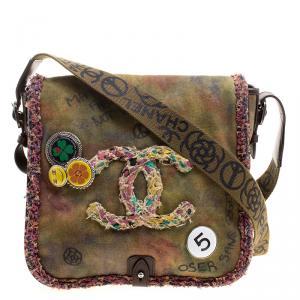 Chanel Khaki Canvas Peace and Love Shoulder Bag