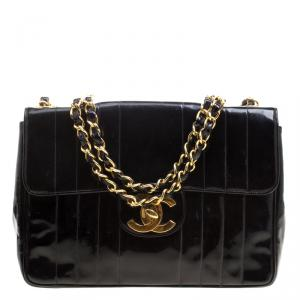 Chanel Black Vertical Quilted Patent Leather XL Jumbo Classic Flap Bag
