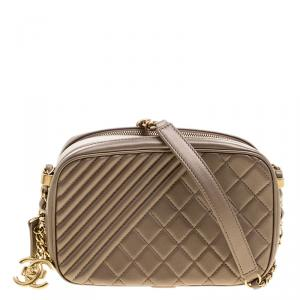 Chanel Gold Quilted Leather Small Coco Boy Camera Case Shoulder Bag